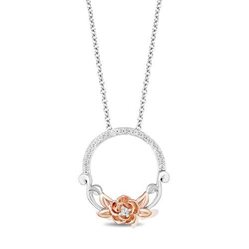 Enchanted Disney Fine Jewelry Rose Gold over Sterling Silver with 1/10cttw Belle Rose Pendant