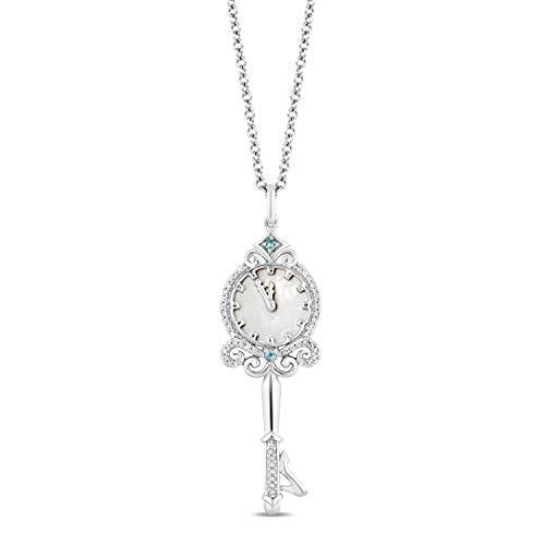 Enchanted Disney Fine Jewelry Sterling Silver with 1/10cttw Diamonds and London Blue Topaz & Mother of Pearl Cinderella 70th Anniversary Key Pendant