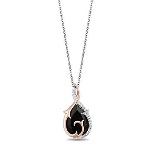 Enchanted Disney Fine Jewelry Sterling Silver and 10K Rose Gold 1/10Cttw Maleficent Pendant
