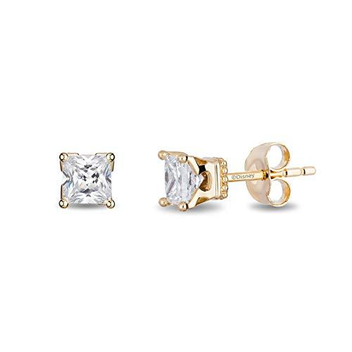 Enchanted Disney Fine Jewelry 14K Yellow Gold with 1/2 cttw Princess Cut Diamond Majestic Princess Solitaire Earrings