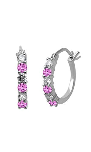 Jewelili Birthstone and Cubic Zirconia Hoop Earrings in Sterling Silver - Created Pink Sapphire