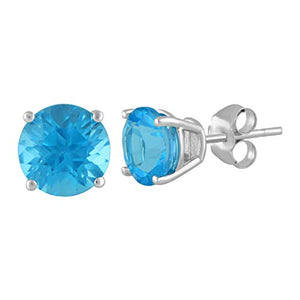 Jewelili 14kt White Gold 7mm Swiss Blue Topaz Round Stud Earrings