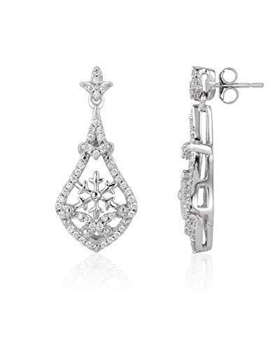 Enchanted Disney Fine Jewelry 14K White Gold 1/4CTTW Elsa Frozen Dangling Earrings