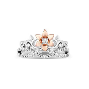 Enchanted Disney Fine Jewelry 14K Rose Gold over Sterling Silver with 1/5cttw Diamonds Rapunzel Fashion Ring