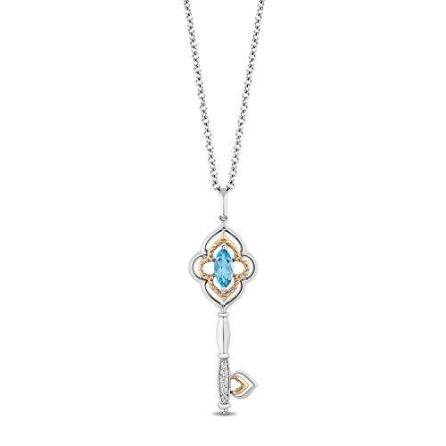 Enchanted Disney Fine Jewelry Sterling Silver and 10K Yellow Gold with Diamond Accent And Swiss Blue Topaz Jasmine Pendant