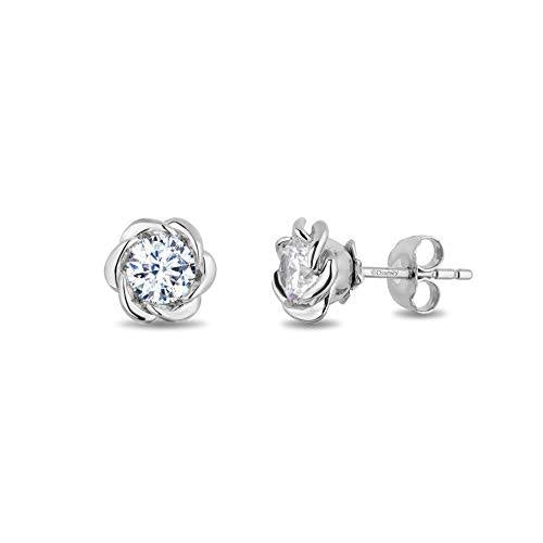 Enchanted Disney Fine Jewelry 14K White Gold with 1/3cttw Diamond Belle Solitaire Earrings
