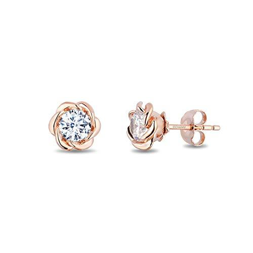Enchanted Disney Fine Jewelry 14K Rose Gold with 1/2 cttw Diamond Belle Solitaire Earrings