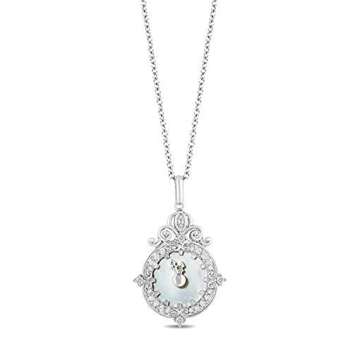 Enchanted Disney Fine Jewelry Sterling Silver with 1/6cttw Diamonds and Mother-of-Pearl Face Cinderella Clock Pendant