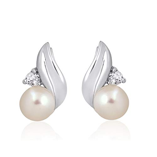 Jewelili 10kt White Gold 6mm Pearl and Created White Sapphire Earrings