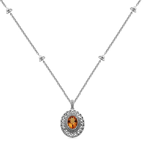 Jewelili Sterling Silver 10X8mm Oval Citrine with 1/10 cttw Diamond Filigree Pendant Necklace, 18
