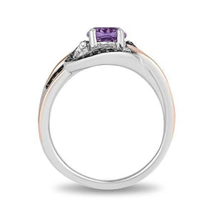 Enchanted Disney Fine Jewelry Sterling Silver with Rose Gold Plating, Black Rhodium 1/5cttw and Amethyst Ursula Ring