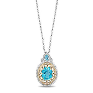 Enchanted Disney Fine Jewelry 10K White and Yellow Gold with 1/5cttw Diamonds and Swiss Blue Topaz Aladdin Cave Of Wonders Pendant
