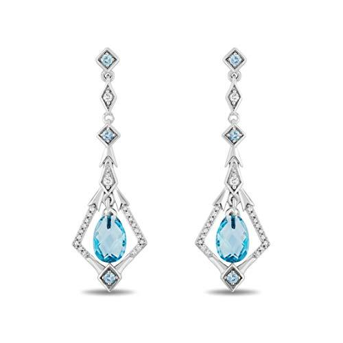 Enchanted Disney Fine Jewelry Sterling Silver with 1/8cttw Diamond and Swiss Blue Topaz Elsa Dangling Earrings