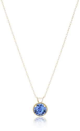 Jewelili 10k Yellow Gold Round Sapphire Crystal September Birth Stone Pendant Necklace, 18
