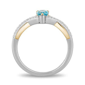 Enchanted Disney Fine Jewelry Sterling Silver and 10K Yellow Gold 1/10Cttw And Swiss Blue Topaz Aladdin Line Action Ring