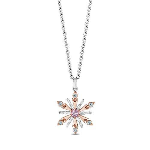 Enchanted Disney Fine Jewelry Sterling Silver and 10K Rose Gold 1/6 Cttw, Sky Blue Topaz And Amethyst Disney Elsa Pendant