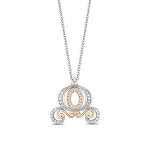 Enchanted Disney Fine Jewelry Sterling Silver and 10K Rose Gold 1/7 Cttw Cinderella Carriage Pendant