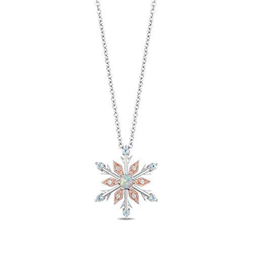 Enchanted Disney Fine Jewelry 14K Rose Gold over Sterling Silver with Diamond Accent with Sky Blue Topaz And Opal Elsa Pendant
