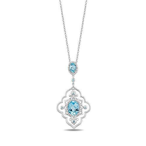 Enchanted Disney Fine Jewelry Sterling Silver with 1/6 cttw Diamond and Swiss Blue Topaz Jasmine Arabesque Pendant