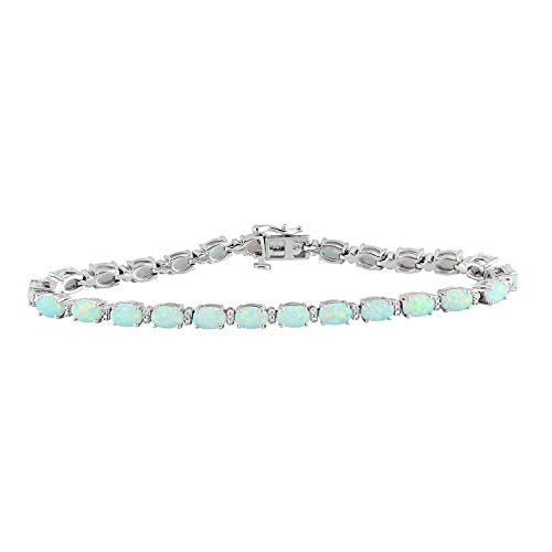 Jewelili Sterling Silver 6x4mm Oval Created Opal and Round Diamond Accent Fashion Bracelet, 7.5 Inch