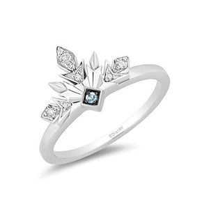 Enchanted Disney Fine Jewelry Sterling Silver with 1/5cttw Diamonds and Sky Blue Topaz Frozen 2 Elsa Snowflake Ring