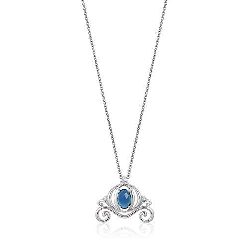 Enchanted Disney Fine Jewelry Sterling Silver Diamond Accent And London Blue Topaz Cinderella Carriage Pendant
