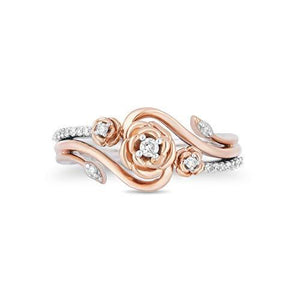 Enchanted Disney Fine Jewelry 14K Rose Gold over Sterling Silver with 1/6cttw Diamonds Belle Rose Ring