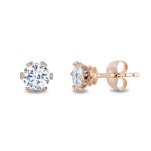 Enchanted Disney Fine Jewelry 14K Rose Gold with 1/3 cttw Diamond Majestic Princess Solitaire Earrings