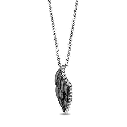 Enchanted Disney Fine Jewelry Black Rhodium over Steriling Silver with Diamond Accent Maleficent Wings Pendant