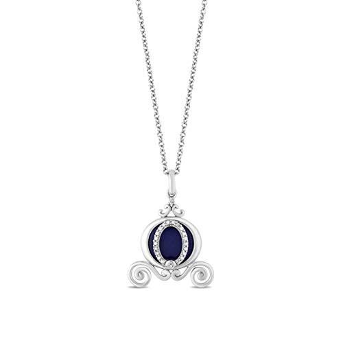 Enchanted Disney Fine Jewelry Sterling Silver with 1/10 cttw Diamond and Lapiz Cinderella Carriage Pendant