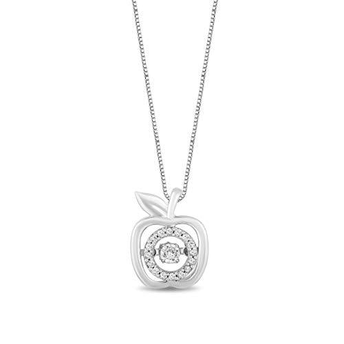Enchanted Disney Fine Jewelry Sterling Silver With 1/10Cttw Diamond Snow White Apple Pendant