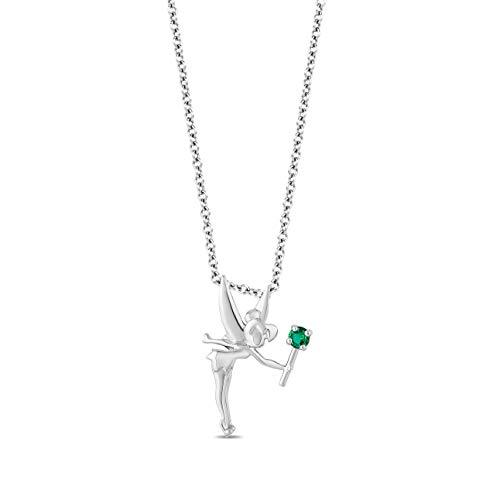 Enchanted Disney Fine Jewelry Sterling Silver with Emerald Tinker Bell Pendent