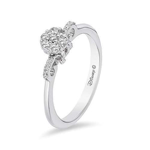 Enchanted Disney Fine Jewelry 10K White Gold with 1/4cttw Diamond Cinderella Carriage Ring