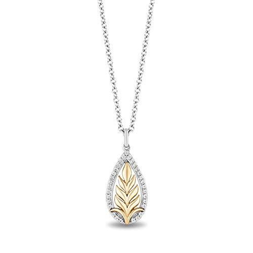 Enchanted Disney Fine Jewelry Sterling Silver and 10K Yellow Gold 1/6 Cttw Anna Pendant