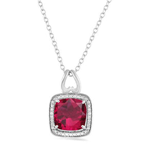 Jewelili Sterling Silver 8mm and 5mm Cushion Cut Created Ruby Halo Pendant Necklace and Earrings Jewelry Set