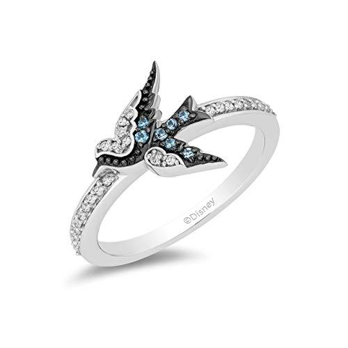 Enchanted Disney Fine Jewelry Sterling Silver with 1/10cttw Diamond and London Blue Topaz Cinderella Blue Bird Ring