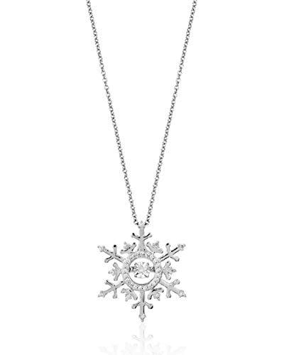 Enchanted Disney Fine Jewelry 14k White Gold 1/10cttw Elsa Snowflake Necklace