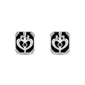 Enchanted Disney Fine Jewelry Sterling Silver 1/20Ctw Garnet & Black Onex Snow White Cufflinks