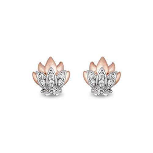 Enchanted Disney Fine Jewelry Sterling Silver and 10K Rose Gold 1/10CTTW Jasmine Earrings