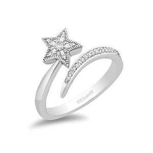 Enchanted Disney Fine Jewelry Sterling Silver with 1/8cttw Diamonds Tinker Bell Fashion Ring