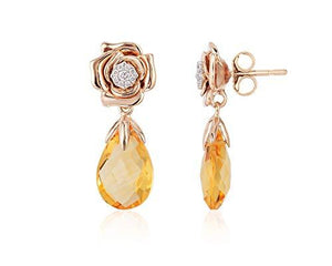 Enchanted Disney Fine Jewelry 14K White and Rose Gold with 1/10 cttw Diamond and Citrine Belle Rose Earrings