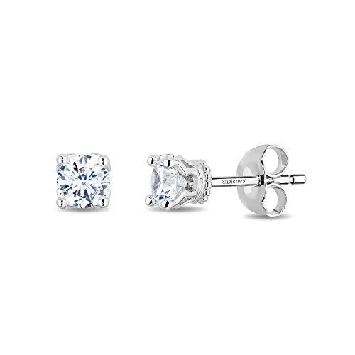 Enchanted Disney Fine Jewelry 14K White Gold 1 1/2cttw Diamond Majestic Princess Solitaire Earrings