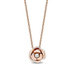 Enchanted Disney Fine Jewelry 10K Rose Gold with Diamond Accent Belle Rose Necklace