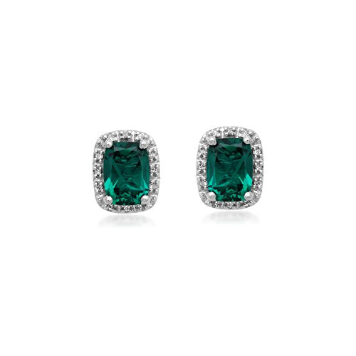 Jewelili 10KT White Gold Cushion-Cut Created Emerald and Diamond Accent Earrings