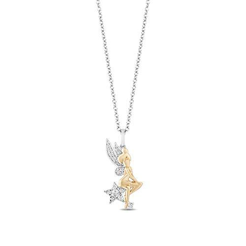 Enchanted Disney Fine Jewelry Sterling Silver with 1/6cttw Diamonds Tinker Bell Pendant