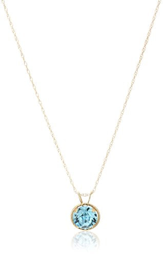 Jewelili 10k Yellow Gold Round Aquamarine Crystal March Birth Stone Pendant Necklace, 18
