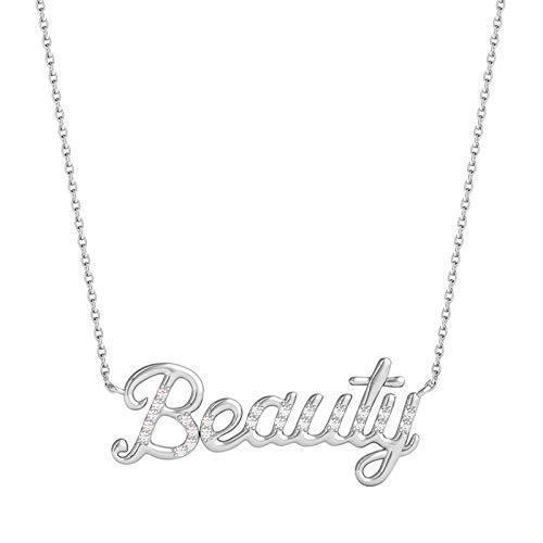 Enchanted Disney Fine Jewelry Sterling Silver 1/10CTTW Belle Editorial Necklace