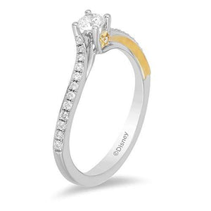 Enchanted Disney Fine Jewelry 14K White Gold and Yellow Gold 1/3 CTTW Diamond Tinker Bell Ring