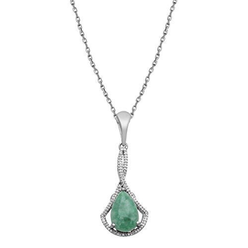 Jewelili Sterling Silver Pear Russian Jade And Diamond Pendant Necklace, 18ƒ?�