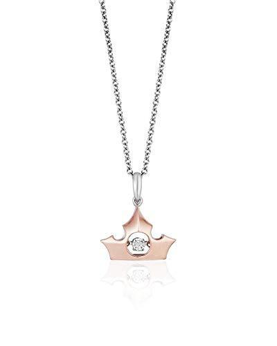Enchanted Disney Fine Jewelry 10K Rose Gold and Sterling Silver with Diamond Accent Aurora Dancing Diamond Pendant